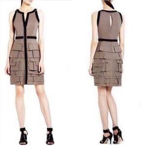 BCBGMAXAZRIA Taupe Distressed Tiered Ruffled Dress